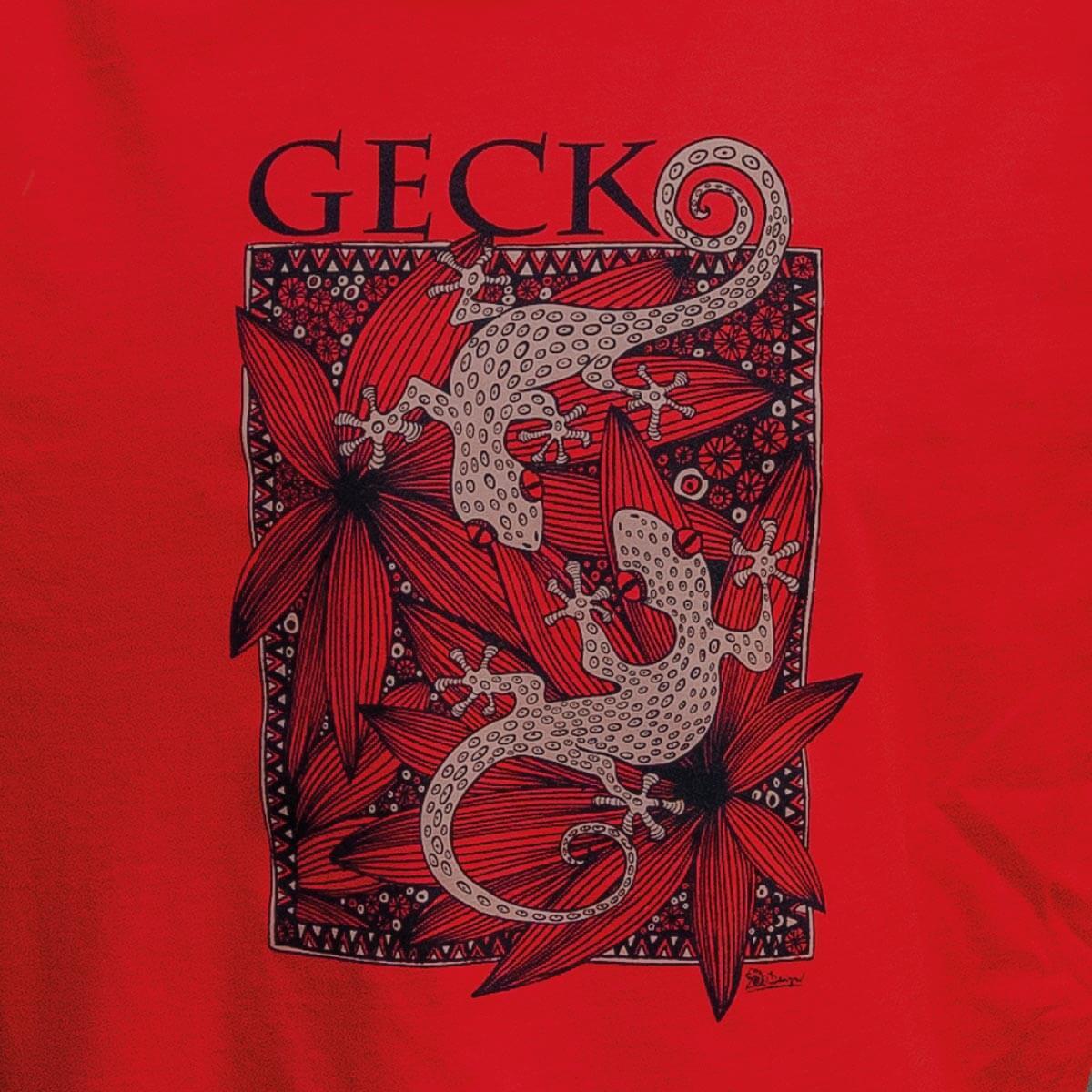 tričko gekoni červené - detail